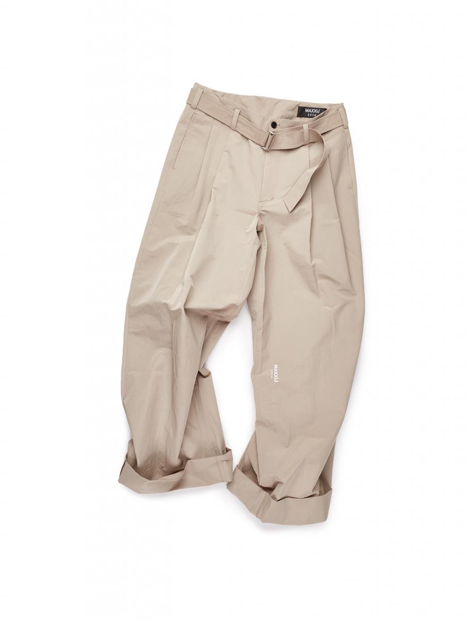 351-20XX010 MAXXIJ Beige Cotton Nylon Loose Trousers