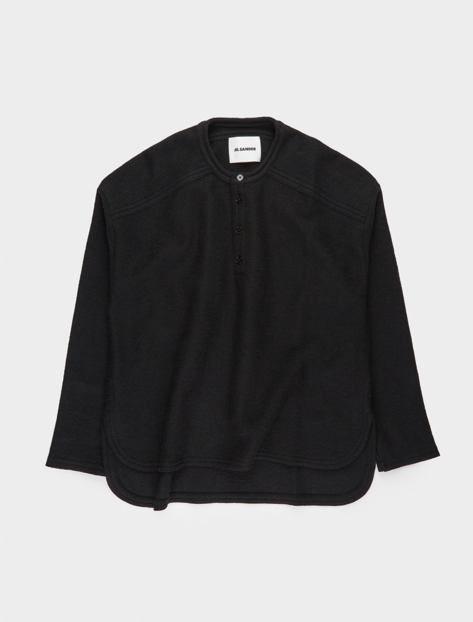 130-JSMR707004-MR217808-001 JIL SANDER Half-Button Long Sleeve Polo in Black