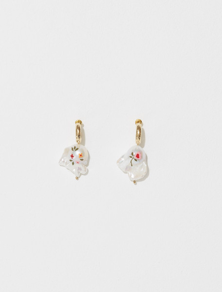 ERG283 0904 SIMONE ROCHA HAND PAINTED BAROQUE PEARL EARRING IN PINK