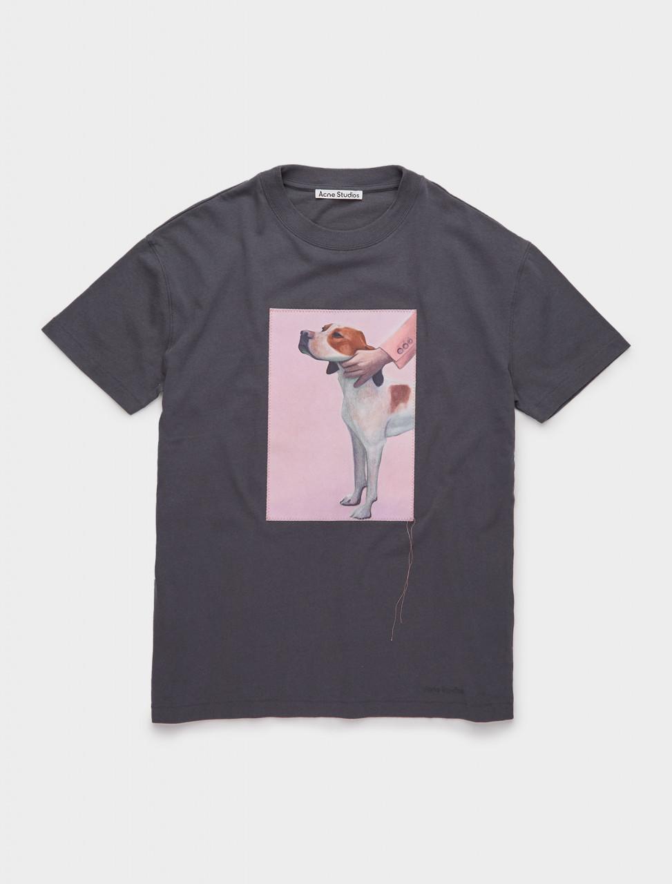 110-AL0168-BHR ACNE STUDIOS Dog-Patch T-Shirt in Slate Grey