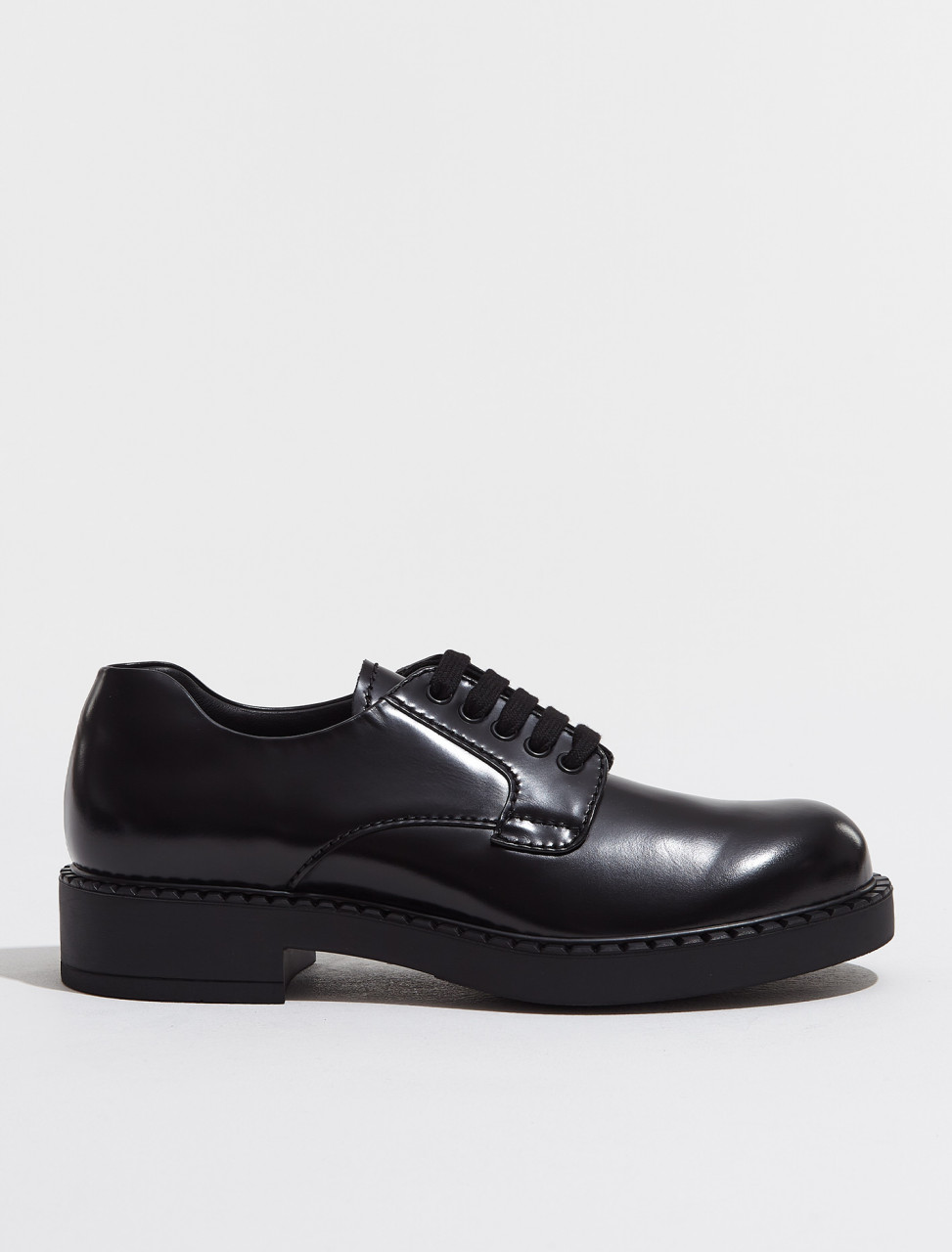 2EE345_055_F0002 PRADA BRUSHED LEATHER DERBY SHOES IN BLACK