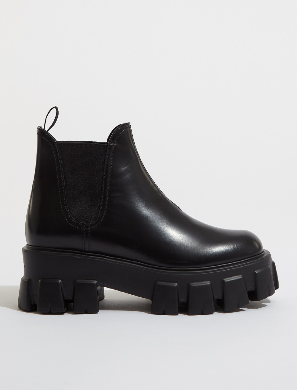 1T725L_B4L_F0002 PRADA MONOLITH BRUSHED LEATHER BOOTIES IN BLACK