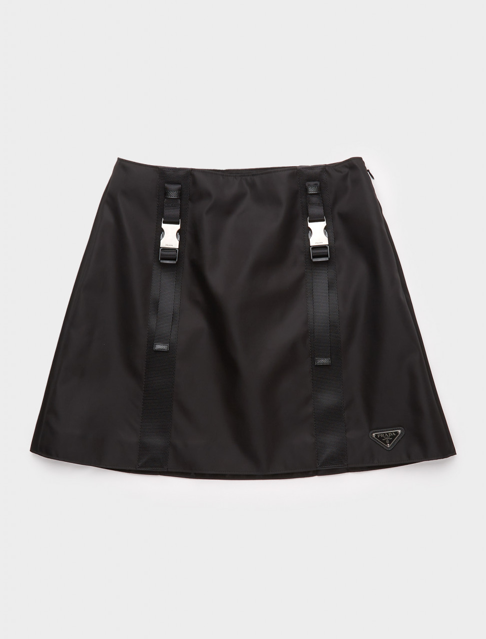 21H875-F0002 PRADA RE-NYLON SKIRT WITH WOVEN STRAPS BLACK