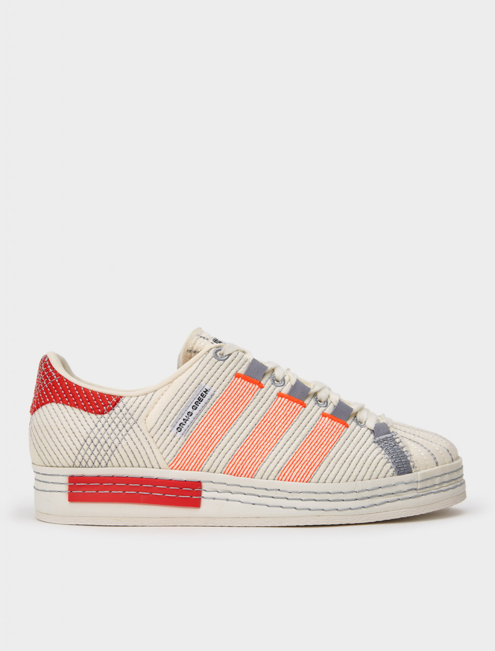 105-FY5711 ADIDAS CRAIG GREEN SUPERSTAR OFF WHITE BRIGHT RED GREY