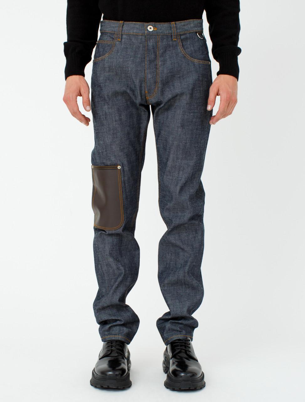 Leather Patch Pocket Jeans