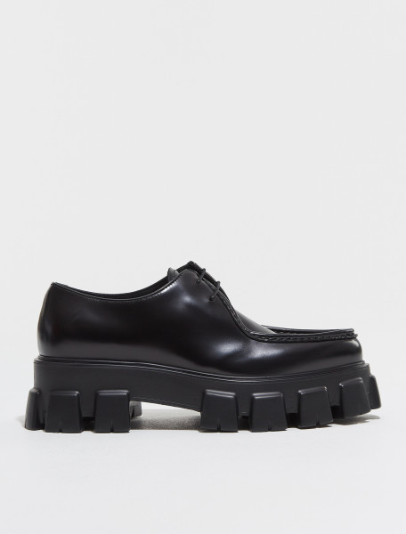 2EE361_B4L_F0002 PRADA MONOLITH BRUSHED LEATHER LACED SHOES IN BLACK