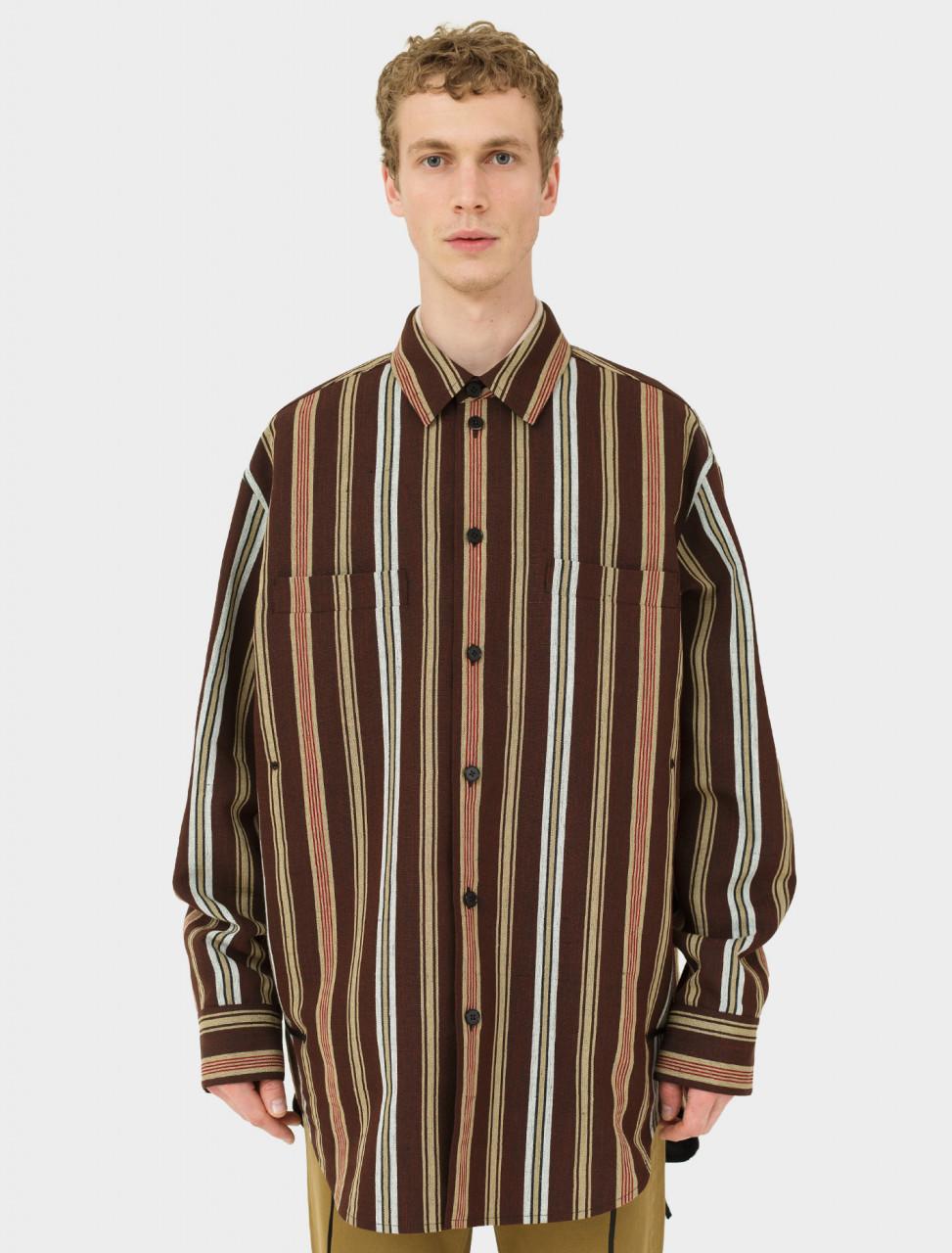 Silk Linen Blouson in Brown