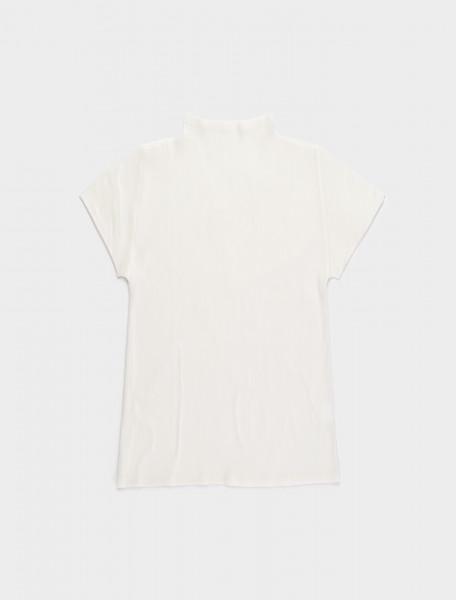 286-PP08FK105-01 ISSEY MIYAKE PLEATS PLEASE MOCK NECK SHORT SLEEVE TOP WHITE