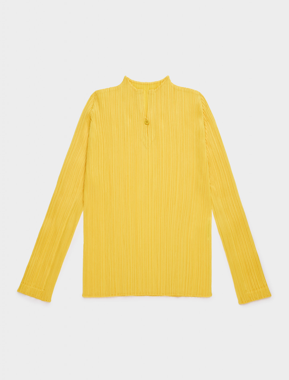 PP08JK221-52 PLEATS PLEASE ISSEY MIYAKE BUTTON V NECK LONG SLEEVE TOP YELLOW 2