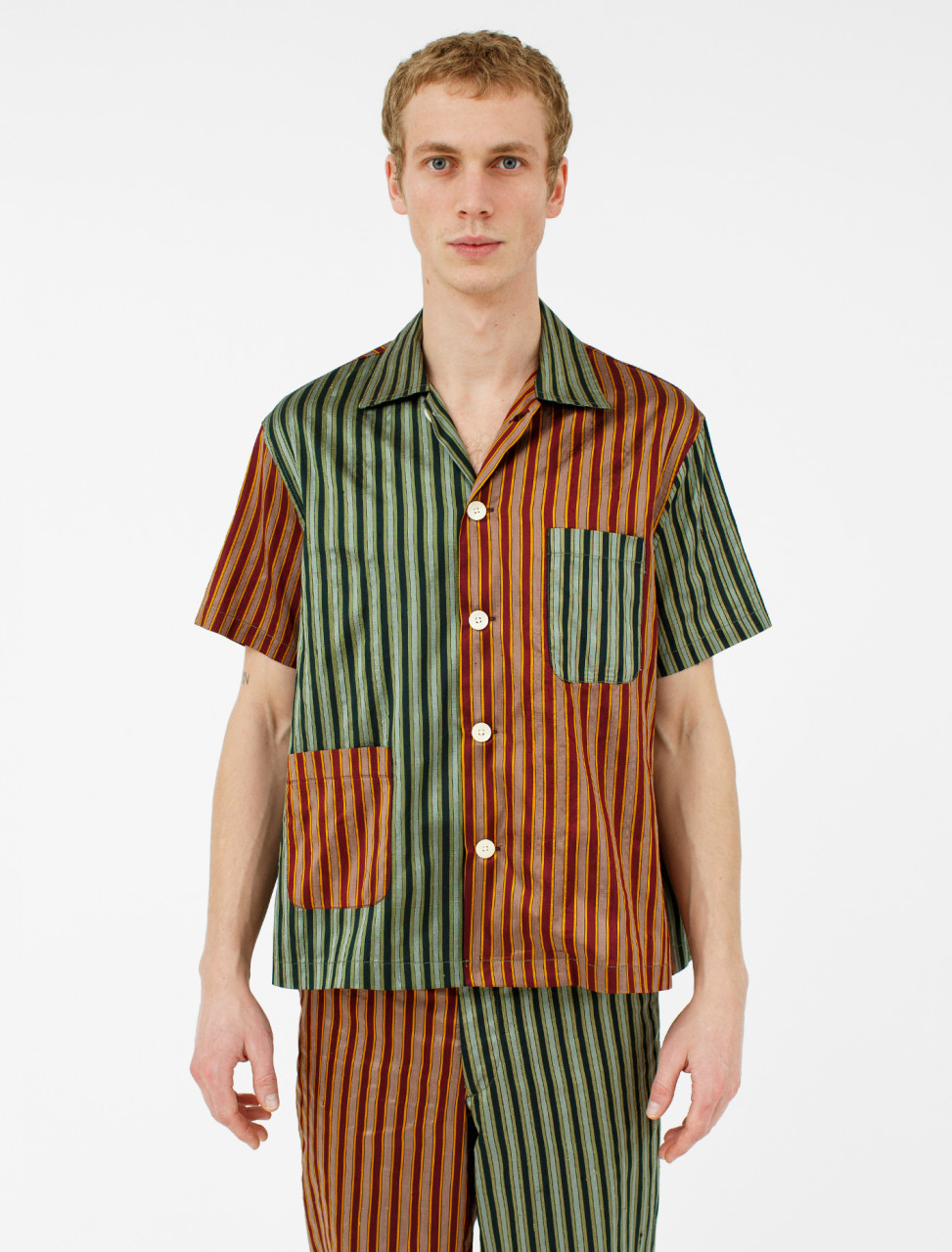 Duo Tone Silk Stripe Louie Shirt