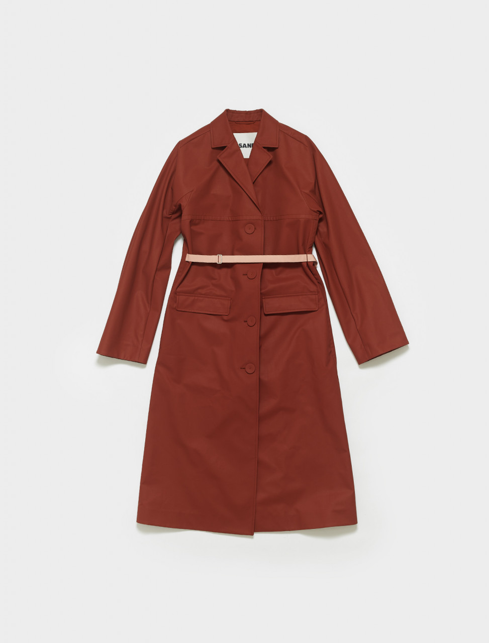JSWS125104-WS242300A-223 JIL SANDER CANVAS BELTED COAT BROWN