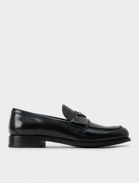 2DB195-P39-F0002 PRADA BRUSHED LEATHER LOAFER IN BLACK