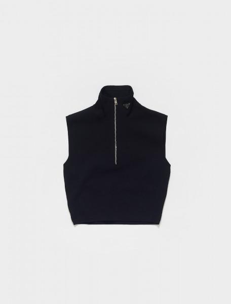 Sleeveless High Neck Zip Top in Black