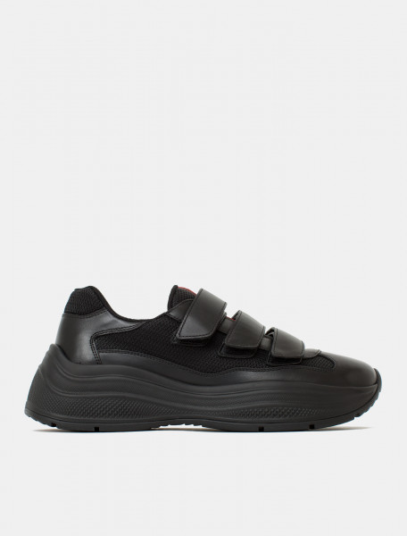 America's Cup Sneaker with Three Strap Closure in Black