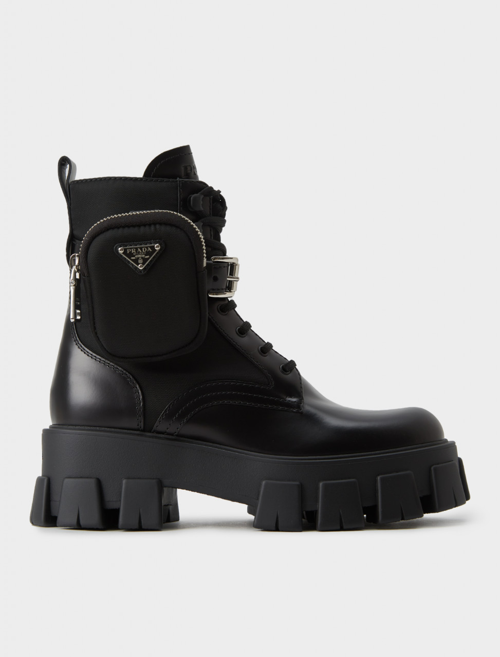 Prada Leather Combat Boots with Removable Nylon Pouch in Black