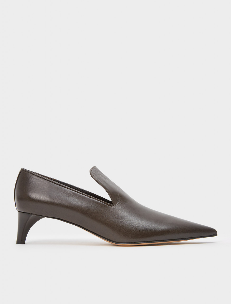 130-JS35125A-12015-201 JIL SANDER LEATHER PUMPS DARK BROWN