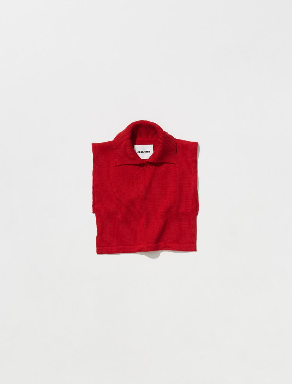 JSMT762031_MTY21608_619 JIL SANDER BIB WITH COLLAR IN RED