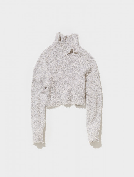 A60315 AAD FN WN KNIT000405 ACNE STUDIOS KIGA FELTED TEDDY CROPPED KNIT IN PALE GREY