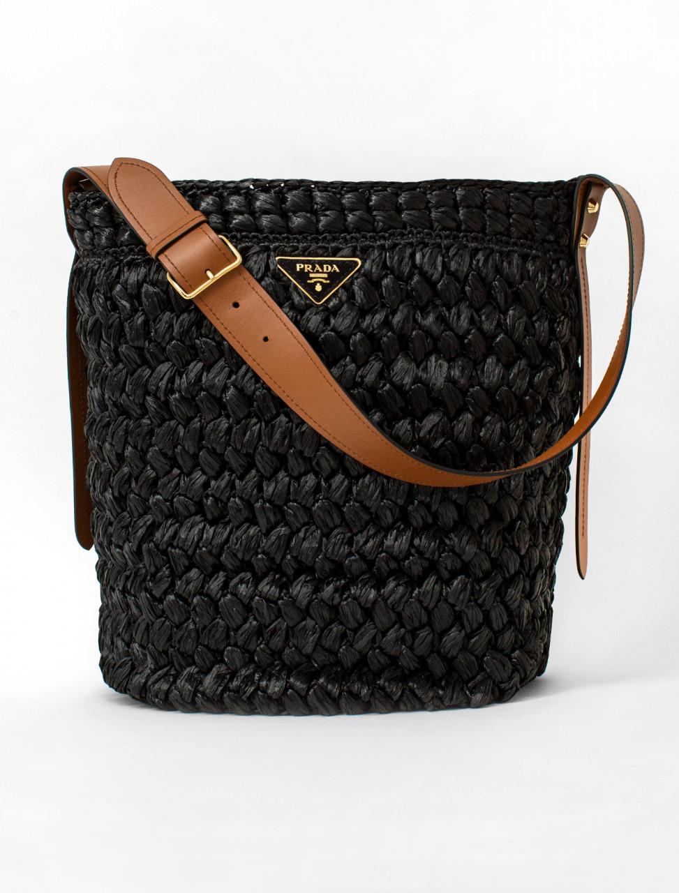 Viscose Raffia Handbag in Black and Cognac