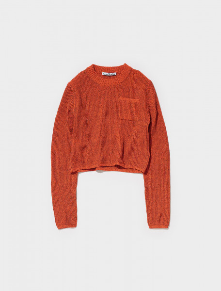 A60298 BKH FN WN KNIT000401 ACNE STUDIOS KINES LONG SLEEVE KNIT IN FLUO RED