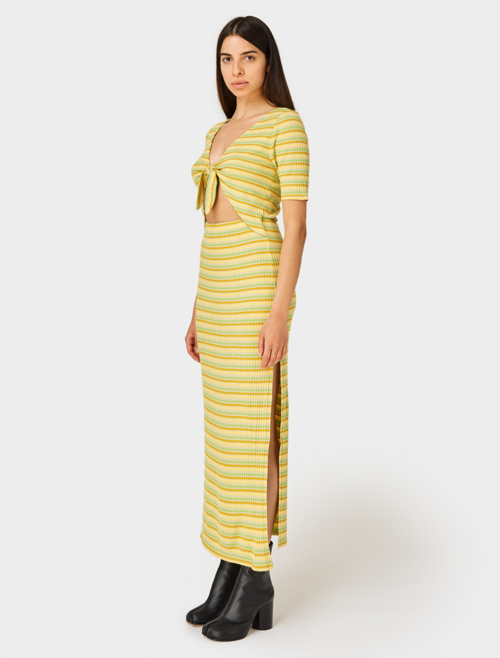 Side view of Paloma Wool Vermont Dress in Pastel Yellow Stripe