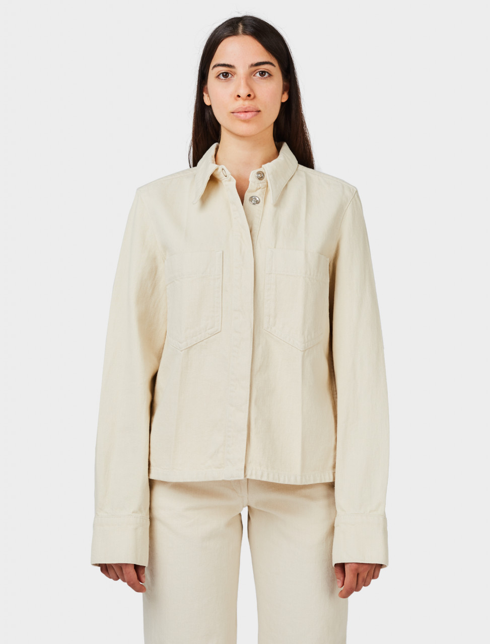 Lemaire Boxy Overshirt in Cream
