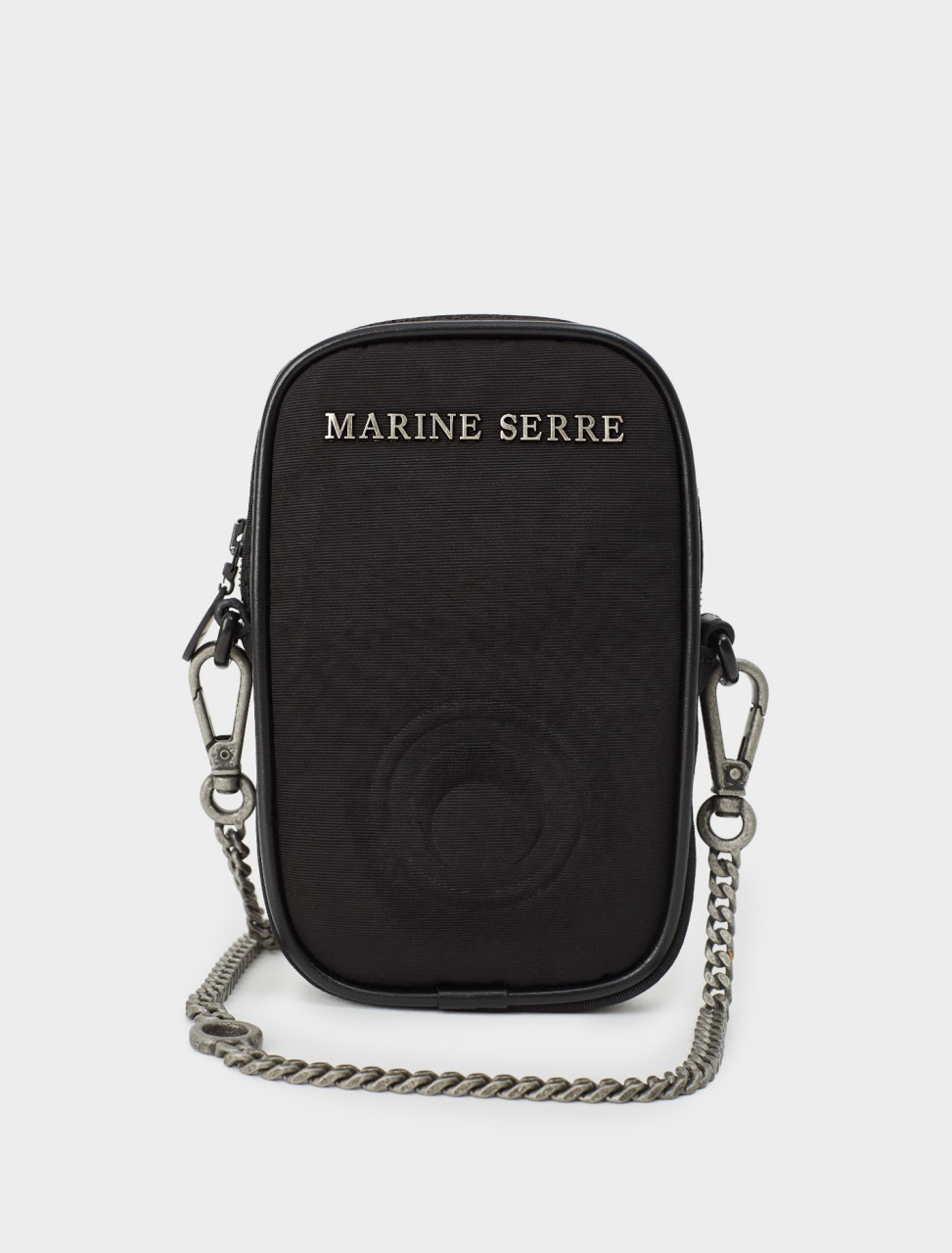 277-B009FW20W-VI0001 MARINE SERRE ONE POCKET PHONE CASE BAG BLACK