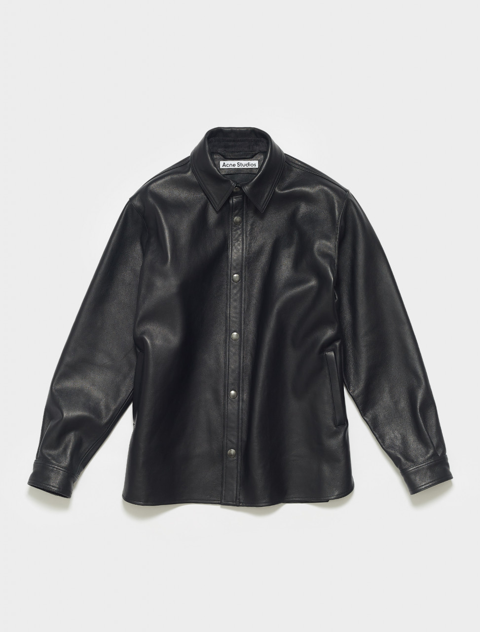 B70072-900 ACNE STUDIOS LARK NAPPA LEATHER OVERSHIRT IN BLACK