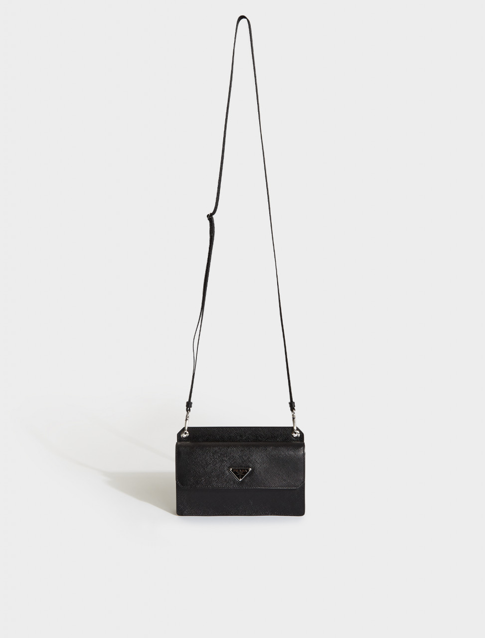 2ZH107-F0002 PRADA Saffiano Leather Smartphone Case in Black