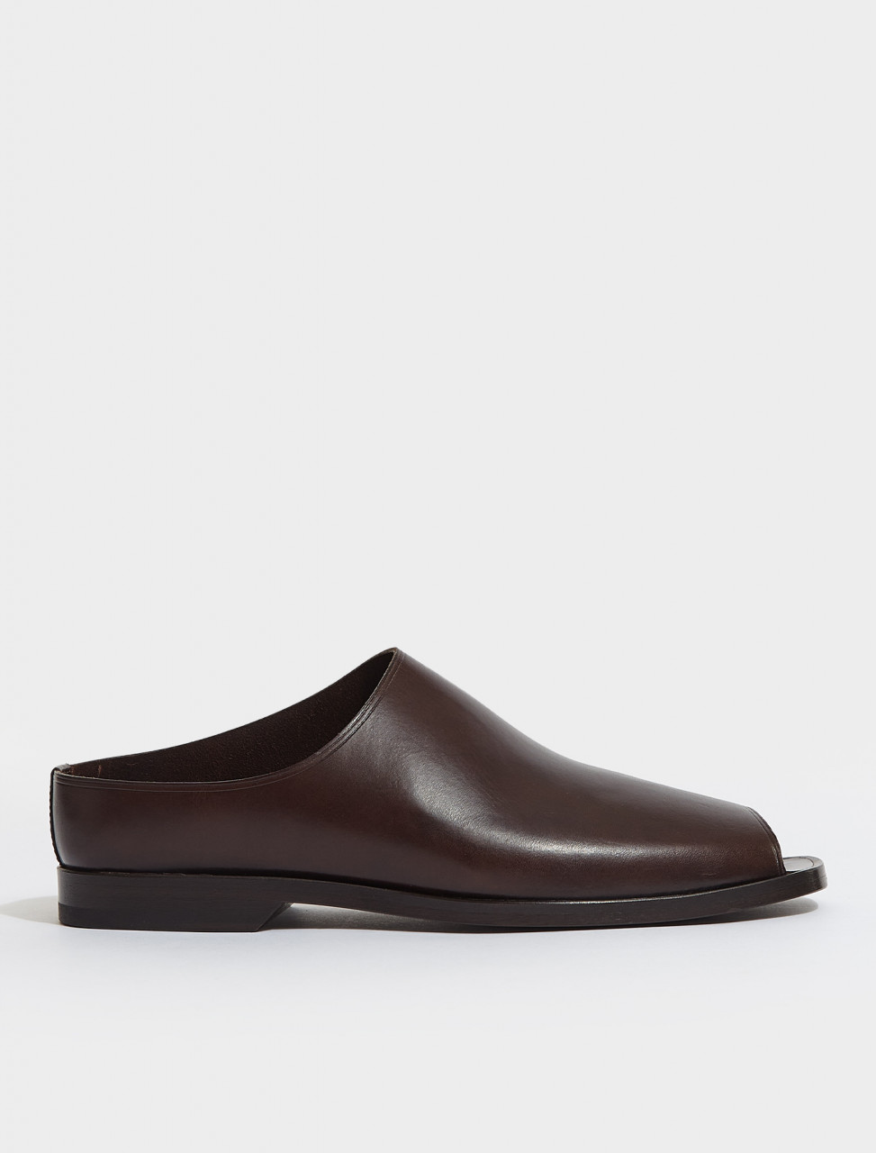 M-211-FO297-LL168-481 LEMAIRE FLAT MULES IN MIDNIGHT BROWN