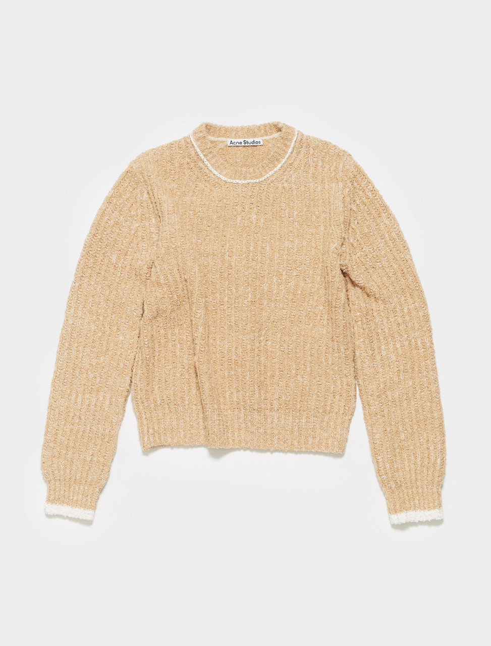 A60254-AE2 ACNE STUDIOS KERIS TEXTURE RIB KNIT IN WARM BEIGE
