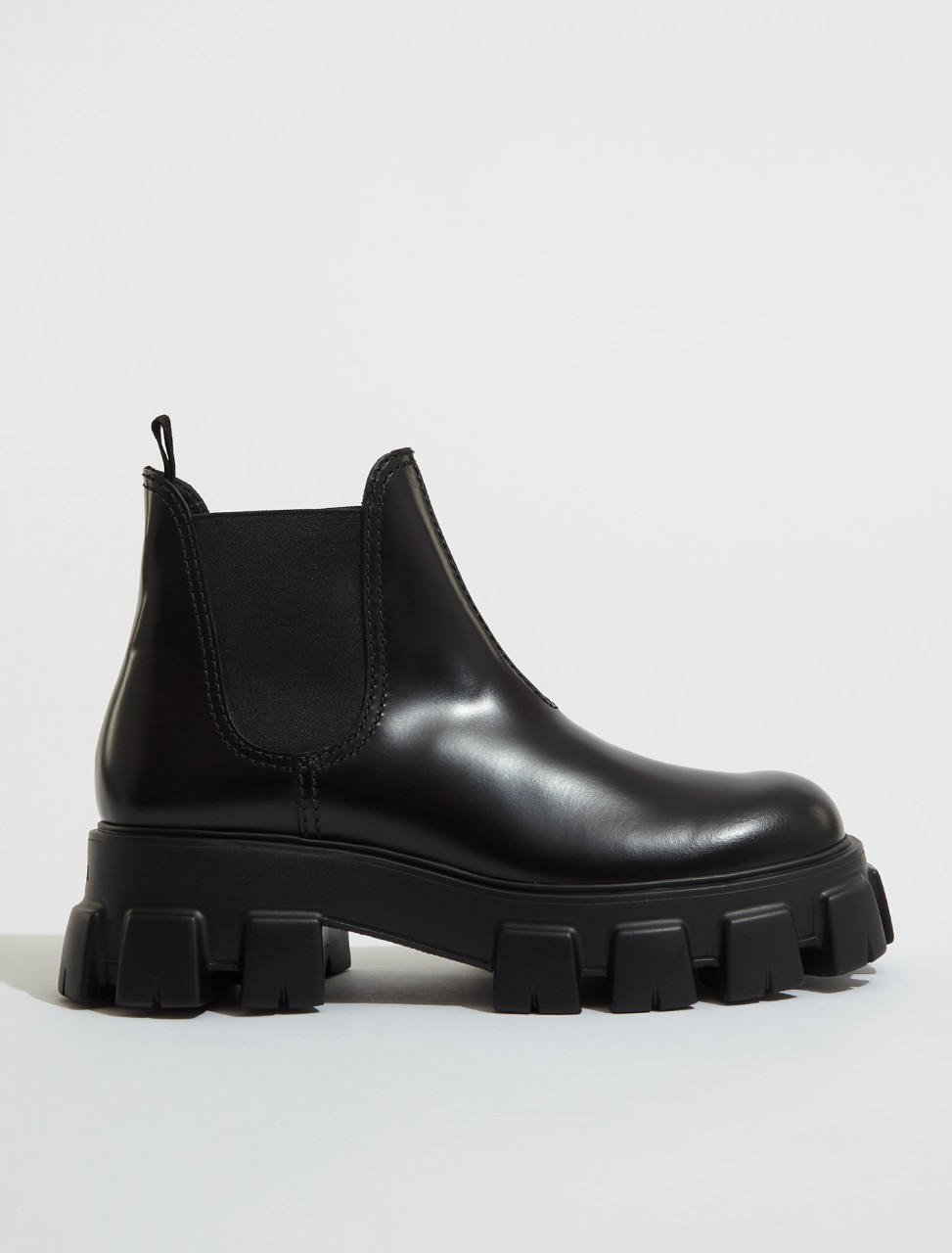 2TE174_B4L_F0002 PRADA MONOLITH BRUSHED LEATHER CHELSEA BOOTS IN BLACK