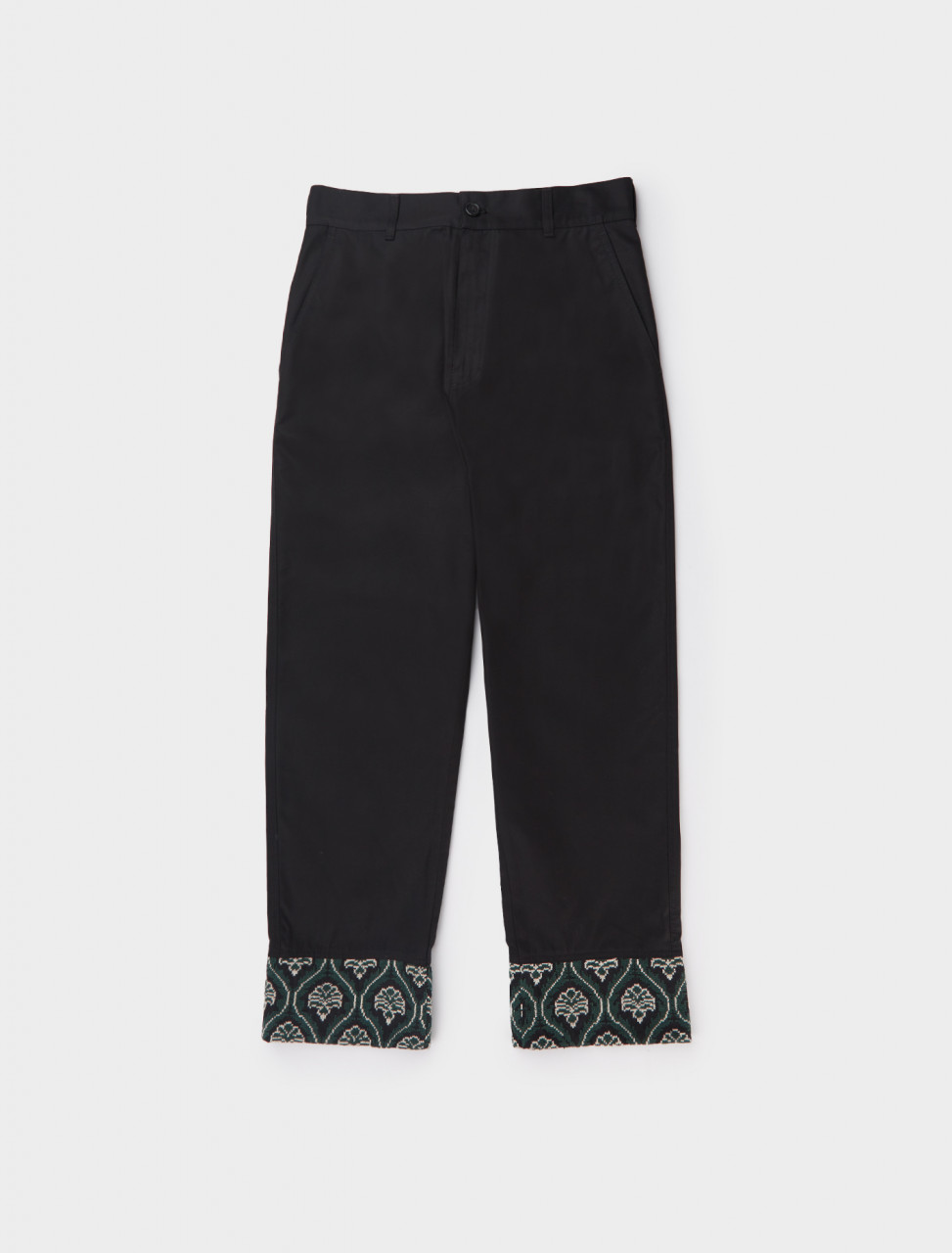 Adish Sawsanas Trouser in Black and Green Embroidered Detail