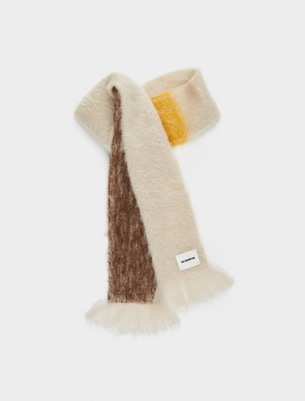 130-JSPR902017-WR199717-968 Jil Sander Mohair Scarf in Beige Brown Yellow