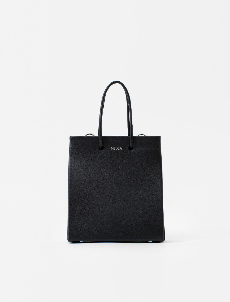 Short Leather Tote in Black
