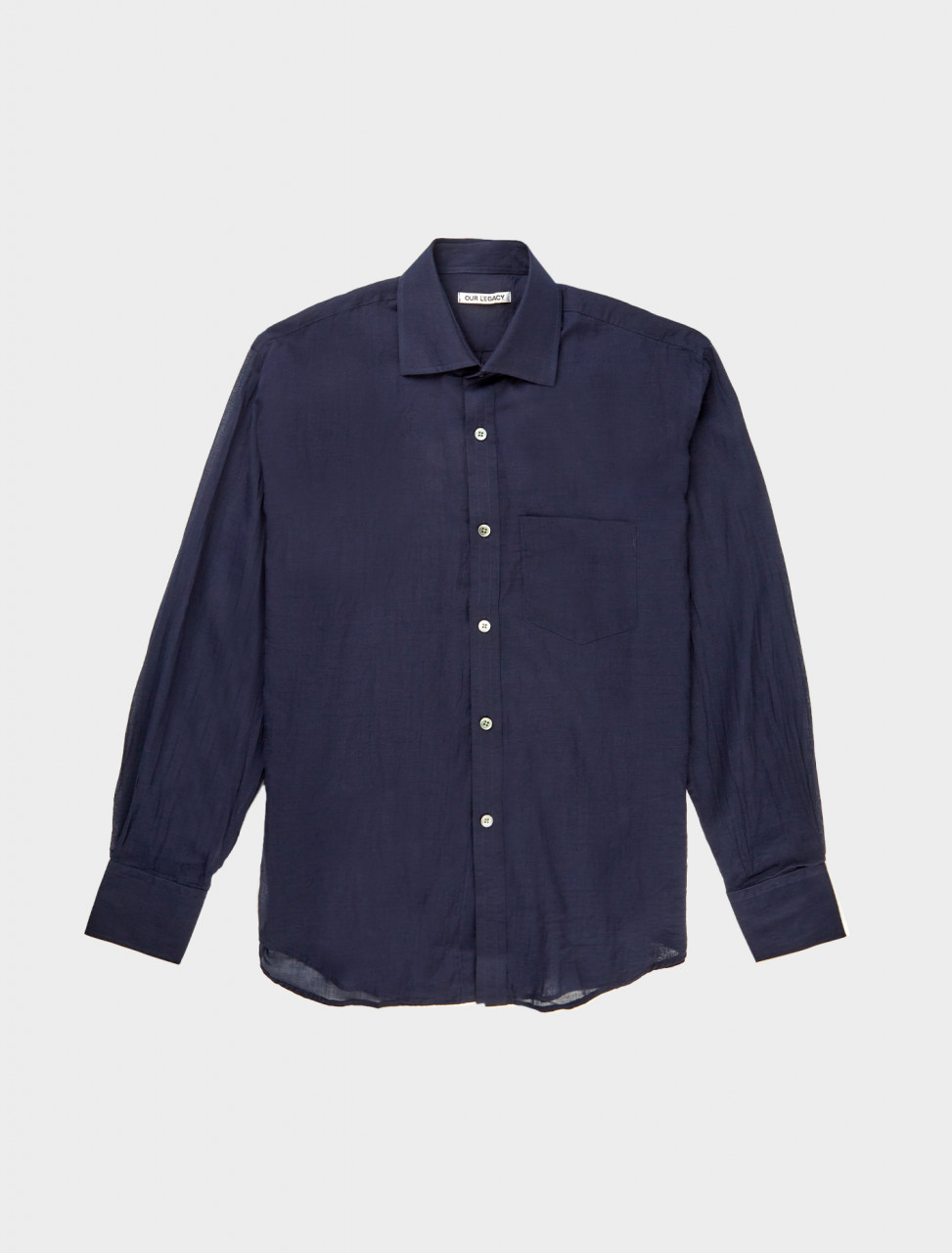Front detail of Our Legacy Cut Away Shirt in Indigo Blue