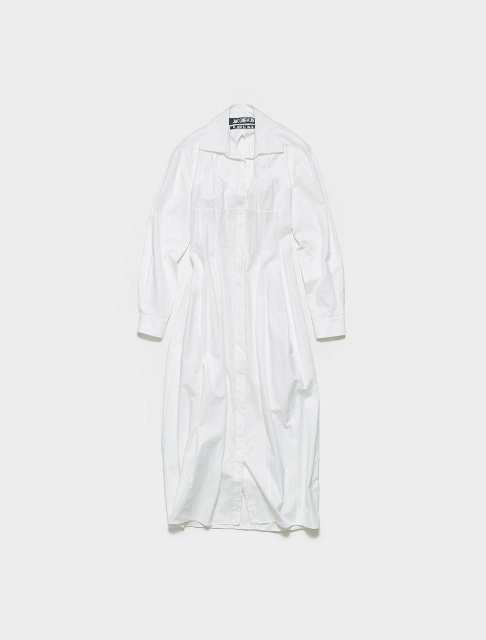 201DR12-201-22100 JACQUEMUS LA ROBE VALENSOLE IN WHITE